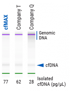 cfMAX delivers cfDNA with less contaminating genomic DNA and higher yields of cfDNA than competing kits