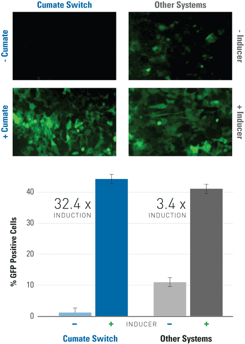 Get lower background and higher induction with the SparQ Cumate Switch System than other inducible systems